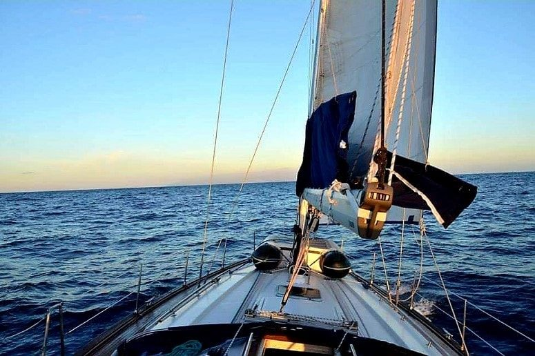 Sailing in the sunset, La Palma